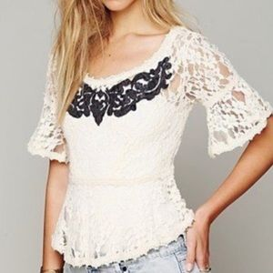 Free People Embroidered Lace Peplum Top S